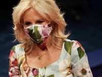 Dr. Jill Biden Did a Thing With Her Matching Floral Dolce and Gabbana 'Cady' Dress and Mask at the 2020 Presidential Debate