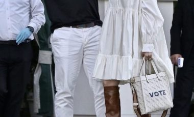 Jennifer Lopez Spotted In White Valentino Puff-Sleeve Tiered Shirt Dress Paired with Coach Custom 'Vote' Field Tote and Brown Pre-Fall 1941 Platform 'Turbo' Boots!