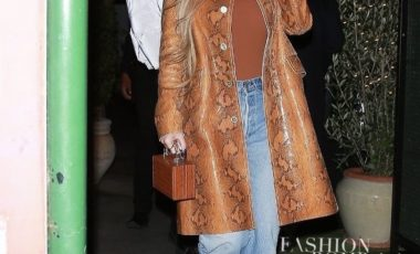 Kylie Jenner Went to Dinner in Santa Monica With Friends in Marni Snake-Print Trench Coat and Brown Fishnet Bottega Veneta Heels