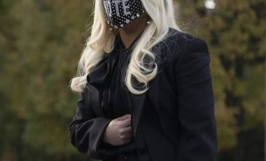 Lady Gaga Wears Alexander McQueen FW20 Ready-to-Wear Suit and Michael NGO 'Vote' Triple Crystal Mask on Biden-Harris Campaign in Pennsylvania!