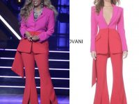 Tyra Banks Hosted Dancing With the Stars in Dazzling Pink and Red Jovani Split Front Pants Suit!
